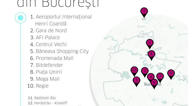 Unde merg cel mai des utilizatorii Uber: top 25 destinații din București