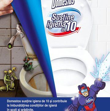 """Domestos continuă inițiativa educațională """"Susține igiena de 10"""""""