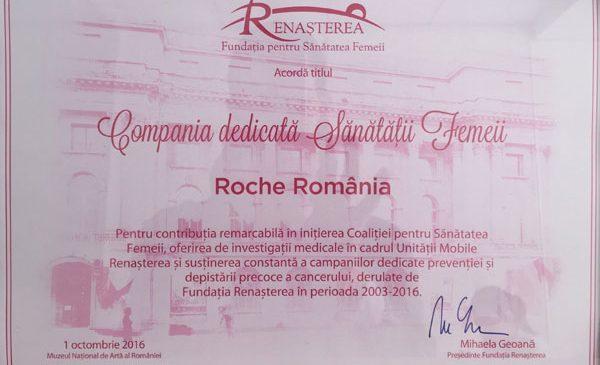 """Roche România, desemnată """"Compania dedicată Sănătății Femeii"""", cu ocazia ediției 2016 a Zilei de luptă împotriva cancerului de sân"""