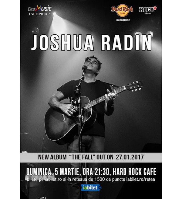 Joshua Radin, compozitorul pieselor din House M.D., Grey's Anatomy, Scrubs sau One Tree Hill vine la București
