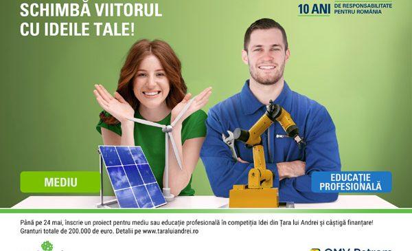 """Granturi în valoare de 200.000 euro în competiția """"Idei din Țara lui Andrei"""" pentru proiecte de mediu și educație profesională"""
