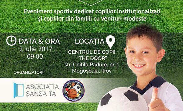 """Cupa """"Şansa Ta"""" la a patra ediţie: Competiţie de fotbal pentru copiii instituţionalizaţi sau din familii modeste"""