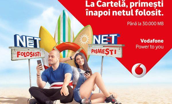 Utilizatorii cartelelor preplătite Vodafone România primesc înapoi netul pe care îl consumă în limita a 30.000 MB lunar, plus 30.000 MB bonus la înrolarea în Net folosești, Net primești