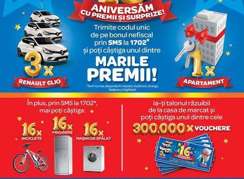 """Grupul Carrefour sarbatoreste 16 ani cu premii in valoare de peste  2,3 milioane lei la Marea Tombola Aniversara, cu super """"preturi aniversare"""" si cu oferte de neratat din campania Black Promo"""