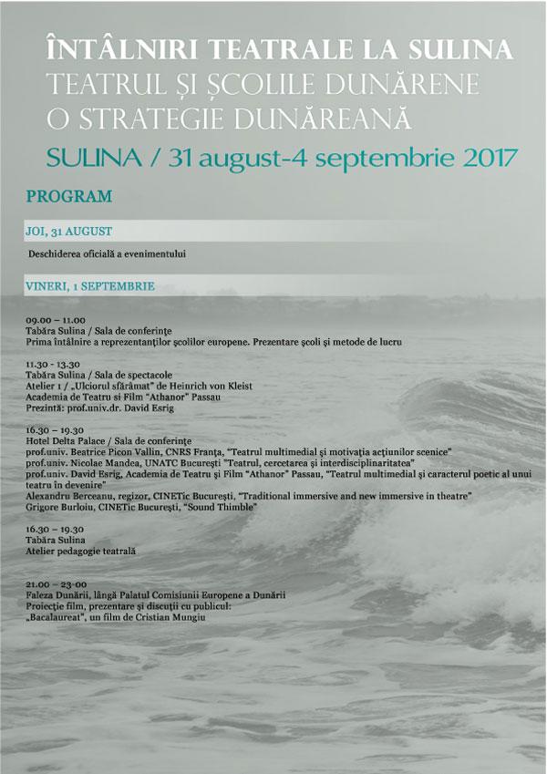 Program Intalniri teatrale la Sulina 1