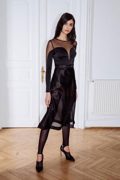 Volt Bodysuit, Flare Skirt, Hold-up Stockings