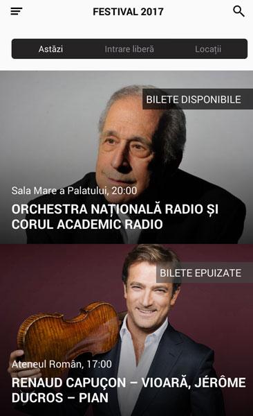 Aplicatie Enescu Festival 2017, Evenimentele la zi