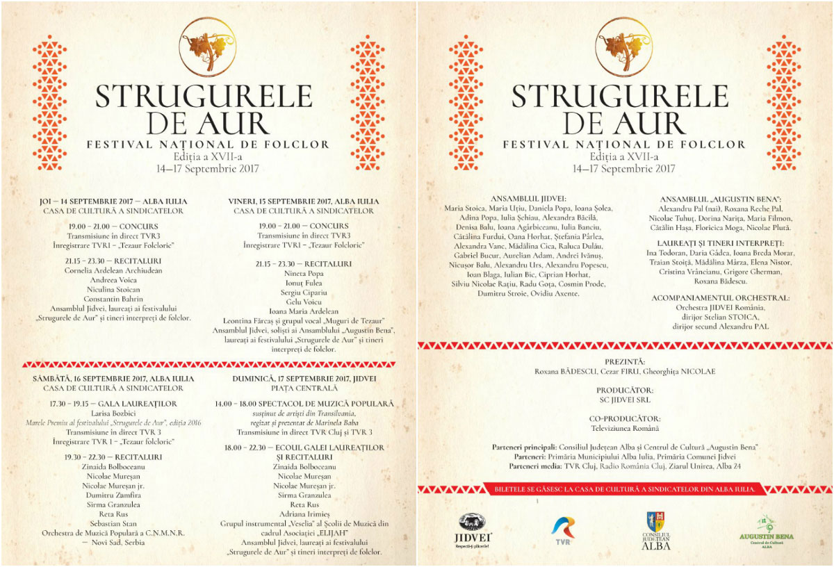 Strugurele de Aur 2017 program