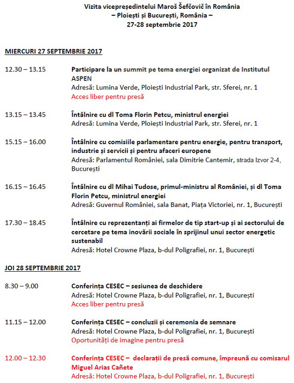 program vizita Maros Sefcovic