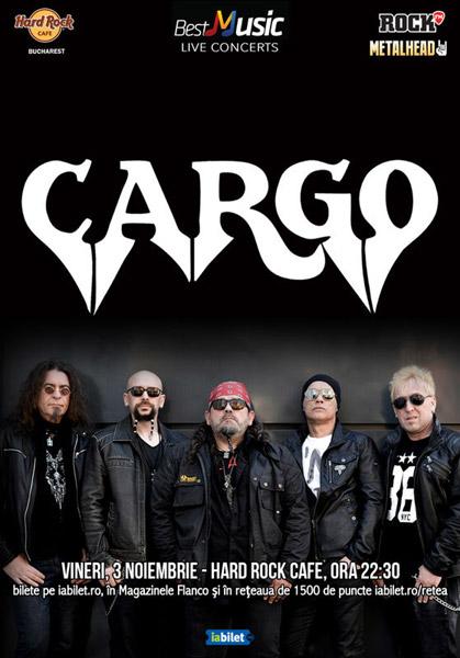 Concert Cargo pe 3 noiembrie la Hard Rock Cafe