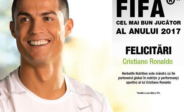 Herbalife îl felicită pe Cristiano Ronaldo care a fost desemnat jucătorul anului 2017