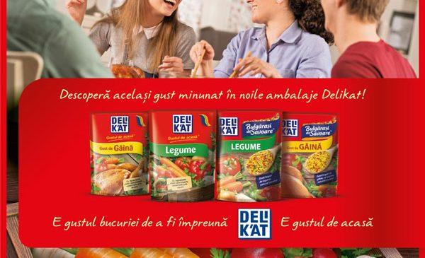 """Delikat redefinește identitatea vizuală a ambalajelor, ca parte a noii campanii de comunicare """"Gustul bucuriei de a fi împreună. Gustul de acasă"""""""
