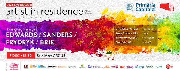 John Edwards și Mark Sanders, pentru prima dată pe scenă alături de jazzmanii est-europeni Sian Brie și Dawid Frydryk