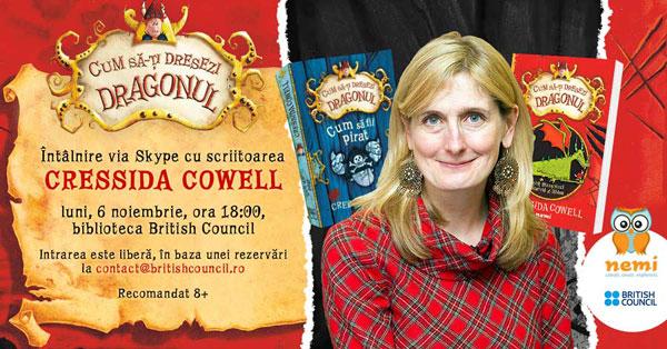 Cressida Cowell, îndrăgita autoare a seriei CUM SĂ-ȚI DRESEZI DRAGONUL, via skype la British Council București