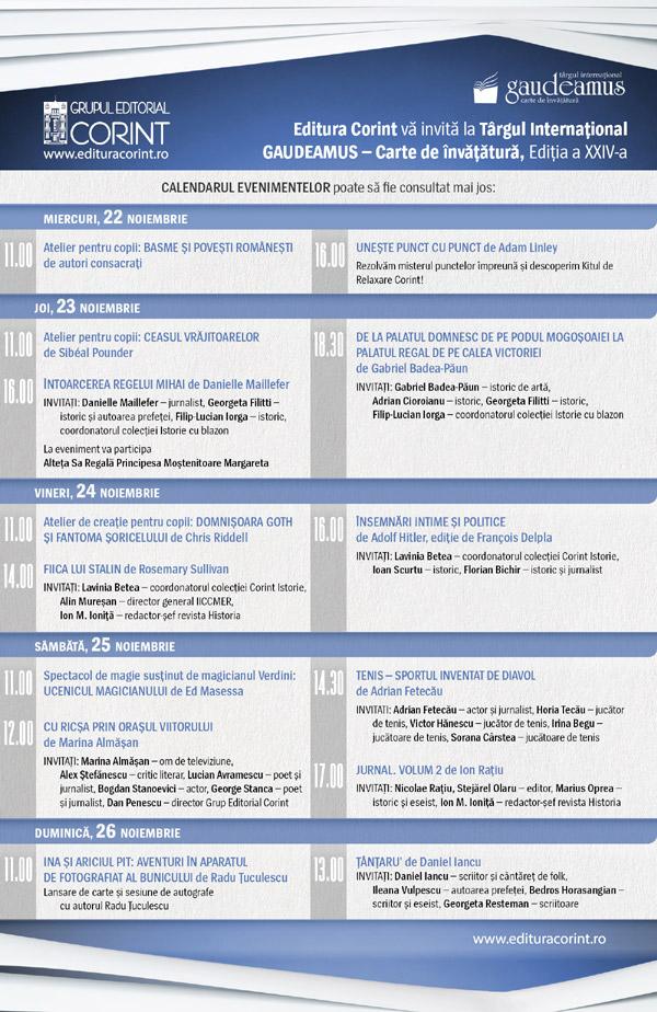 Editura Corint la Targul International Gaudeamus, program
