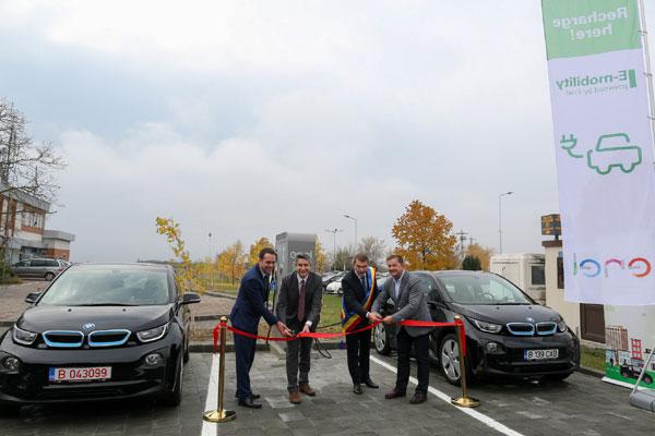 Inaugurare statie rapida de incarcare pentru vehicule electrice, Enel, Aeroport
