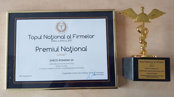 """SIVECO România se află pe locul I în Topul Naţional al Firmelor 2017, la categoria """"Cercetare-Dezvoltare şi High-Tech"""""""