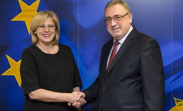 Comisarul european Corina Crețu s-a întâlnit cu ministrul economiei, Gheorghe Șimon