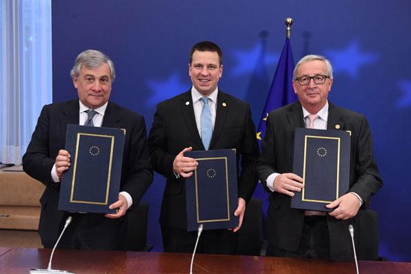 Juncker, Tajani, Ratas