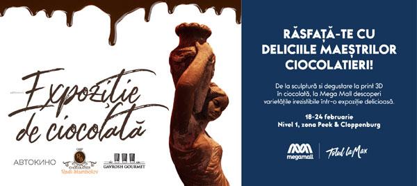 Un maestru cofetar internațional a folosit peste 500 kg de ciocolată pentru realizarea unei expoziții de artă la Mega Mall