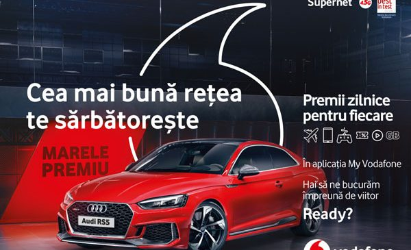 """În cadrul campaniei """"Cea mai bună rețea te sărbătorește"""", utilizatorii aplicației My Vodafone sunt răsplătiți cu milioane de premii zilnice, precum și cu un Audi RS5 Coupé"""