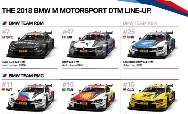 Sextet atractiv: designul celor şase BMW M4 DTM a fost confirmat pentru sezonul 2018