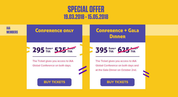Tickets Special Offer IAA Members