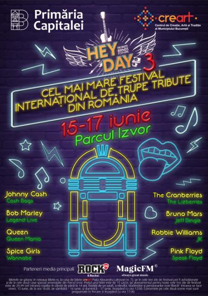 HeyDay - 3 - cel mai mare festival international de trupe tribute din Romania - 15-17 iunie, parcul Izvor