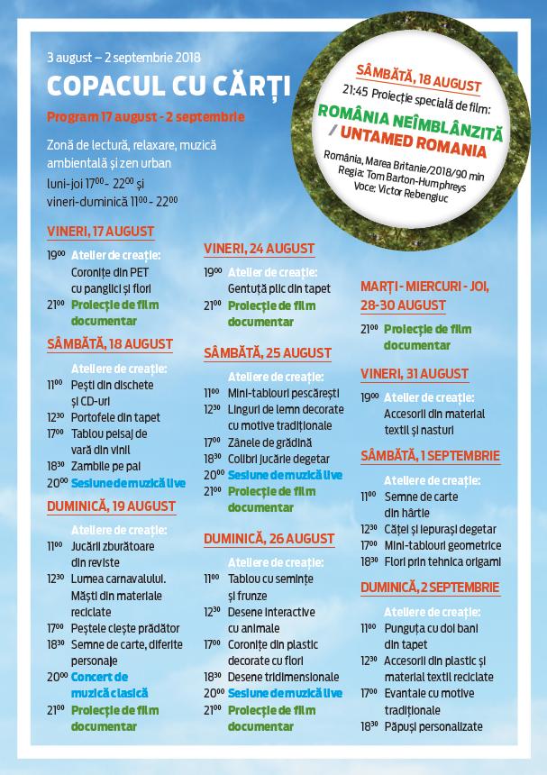 COPACUL CU CĂRȚI 2018 program