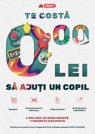 PROFI Campania 2018 - Te costă 0,00 lei să ajuți un copil!