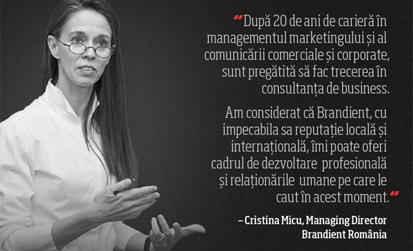 Cristina Micu este noul Managing Director al Brandient România