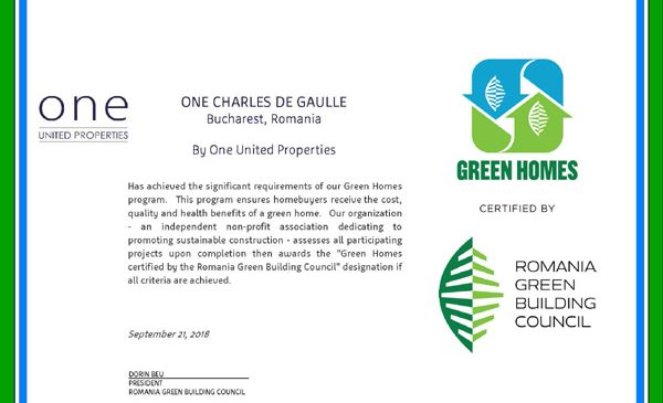 """One Charles de Gaulle a primit certificarea """"Green Homes"""" din partea Romanian Green Building Council"""