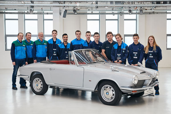BMW 1600 GT Convertible from 1967, restored by apprentices at the BMW plant Dingolfing