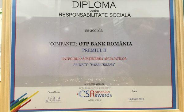 """""""Vara Urbană"""" – locul II la categoria """"cel mai bun program de susținere a angajaților"""" la Romanian CSR Awards 2019"""