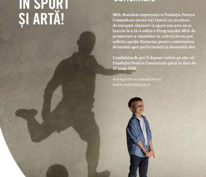Sprijin financiar în valoare de 560.000 lei acordat tinerilor sportivi și artiști prin Programul MOL de promovare a talentelor. Înscrierile se pot face online