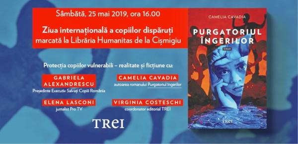 """Autoarea romanului """"Purgatoriul îngerilor"""", Camelia Cavadia marchează Ziua Mondială a copiilor dispăruți"""