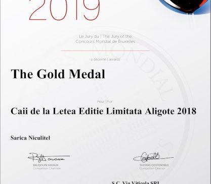 Caii de la Letea ediţie limitată – Aligote a devenit campion mondial, fiind singurul Aligote premiat cu medalie de Aur la cea de-a 26-a ediţie a Concours Mondial de Bruxelles 2019