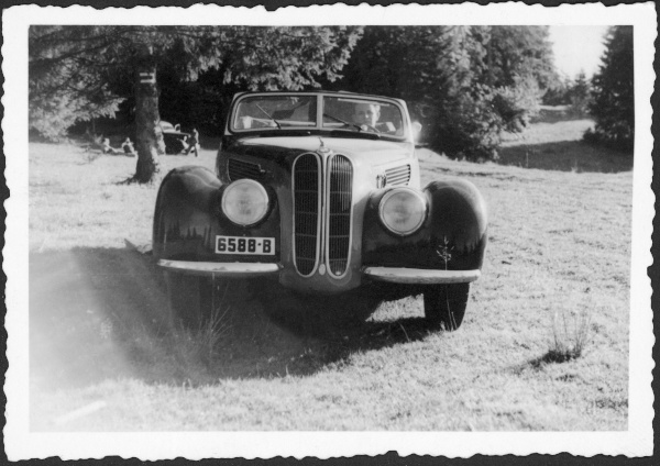 Romanian Eduard Ecker and his BMW 327 from 1938