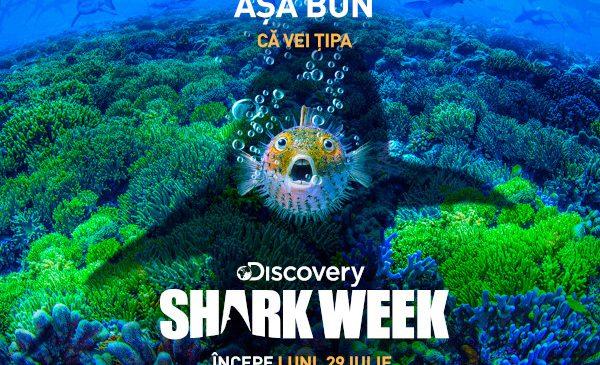 Din 29 iulie, Shark Week face valuri pe Discovery Channel, cu peste 20 de ore de conținut cu și despre rechini