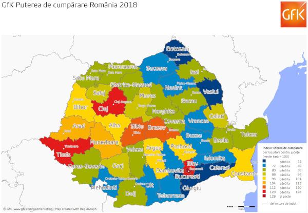 Harta GfK Putere cumparare Romania 2018