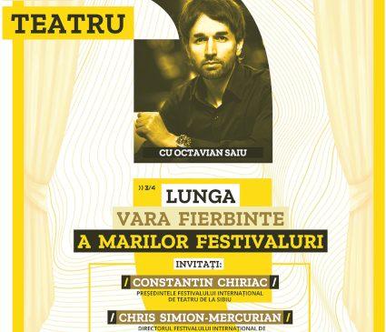 """""""Lunga vară fierbinte a marilor festivaluri"""" la Teatrelli – Octavian Saiu îi aduce în fața publicului pe directorii a două importante festivaluri de teatru"""