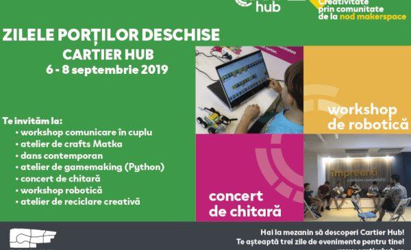 Ziua Porților Deschise la Cartier Hub: 3 zile cu evenimente dedicate comunității din Drumul Taberei