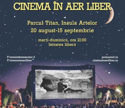 """A VII-a ediție a """"Cinema în aer liber"""" pe Insula Artelor din Parcul Titan, în perioada 20 august-15 septembrie"""