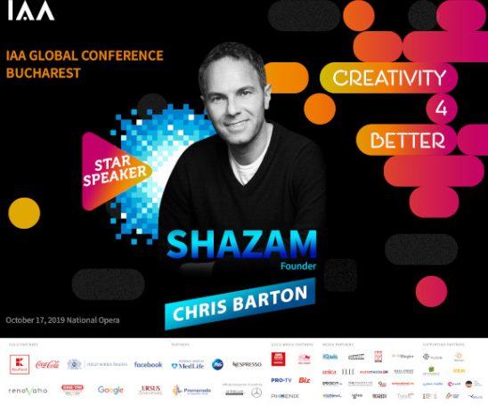 """Chris Barton, Fondatorul Shazam, vine pe scena Conferinței Globale IAA """"Creativity4Better"""""""