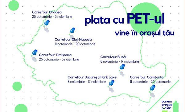 """Carrefour România aduce inițiativa """"Plata cu PET-ul"""" în 6 hipermarketuri din țară, timp de 10 zile"""