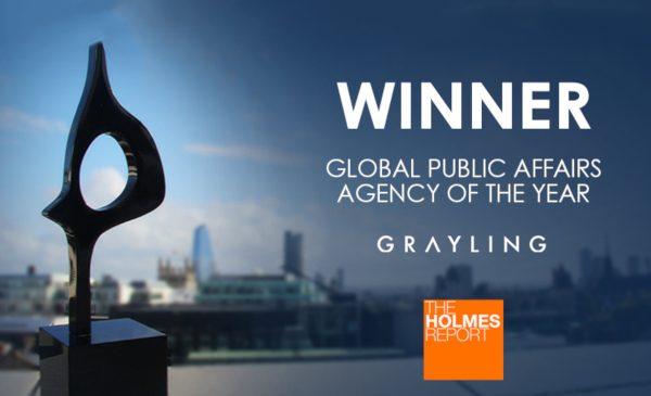 """Grayling desemnată """"Cea mai bună agenţie de Public Affairs a anului"""" la Global SABRE Awards 2019"""