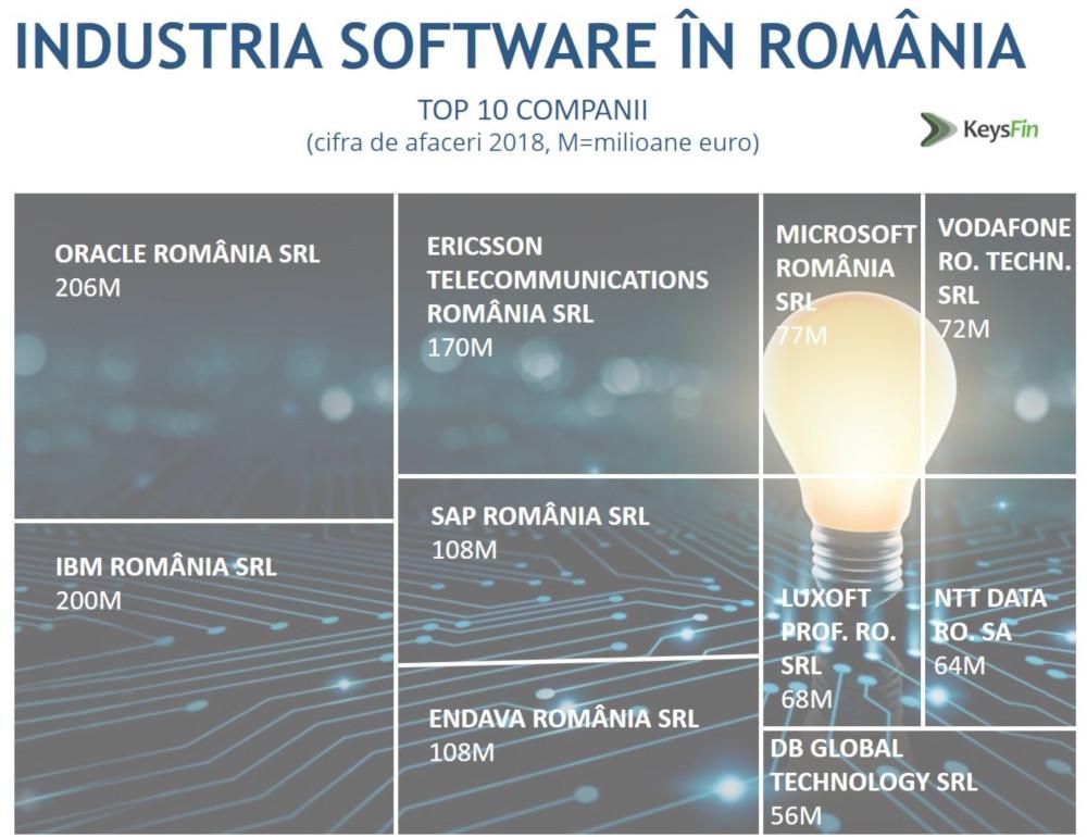 Industria software, top cifra de afaceri