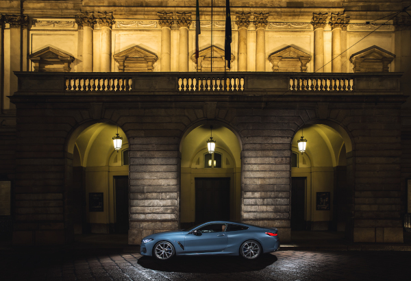 New BMW 8 Series in front of Teatro alla Scala