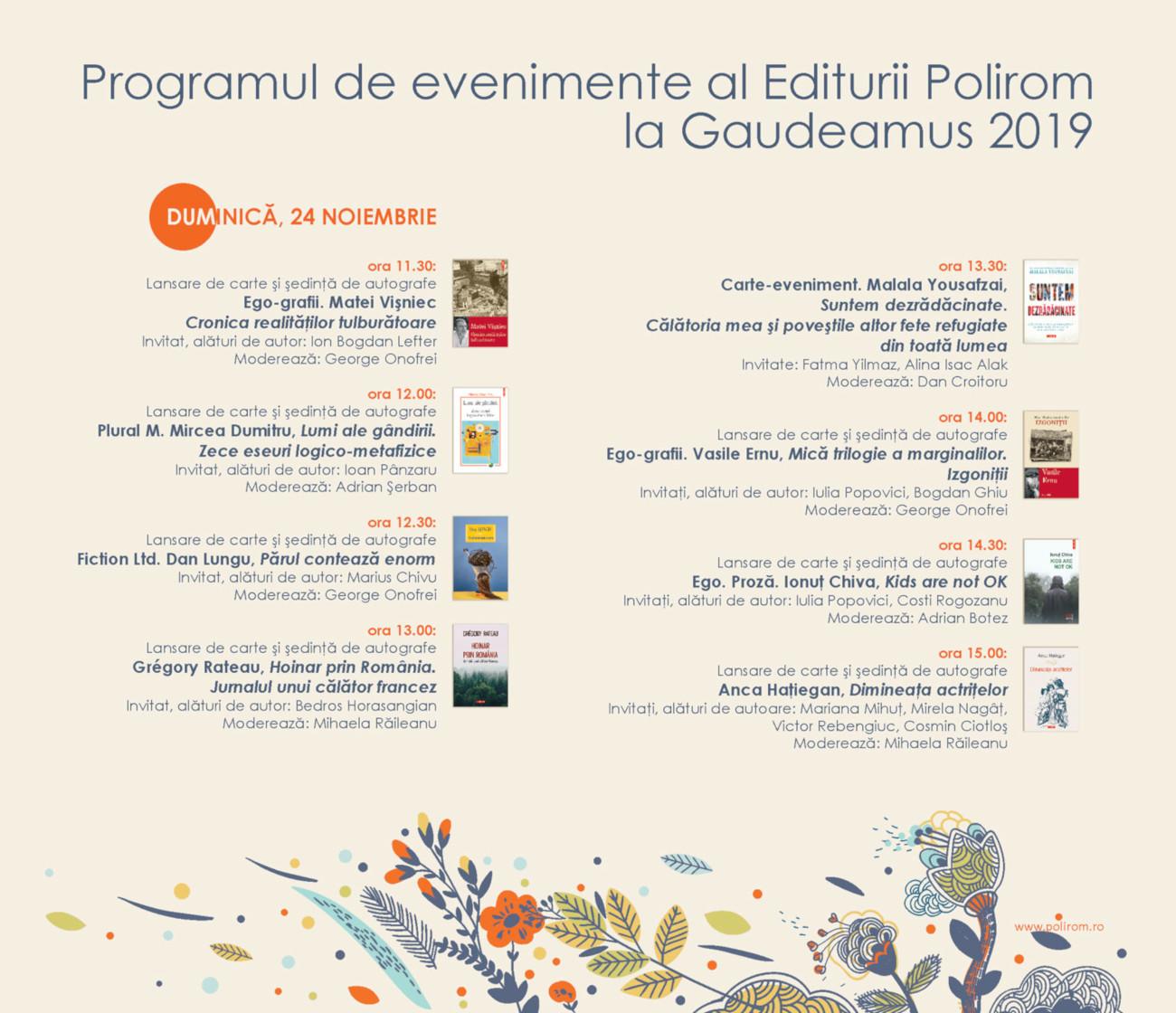 Program lansari Gaudeamus duminica
