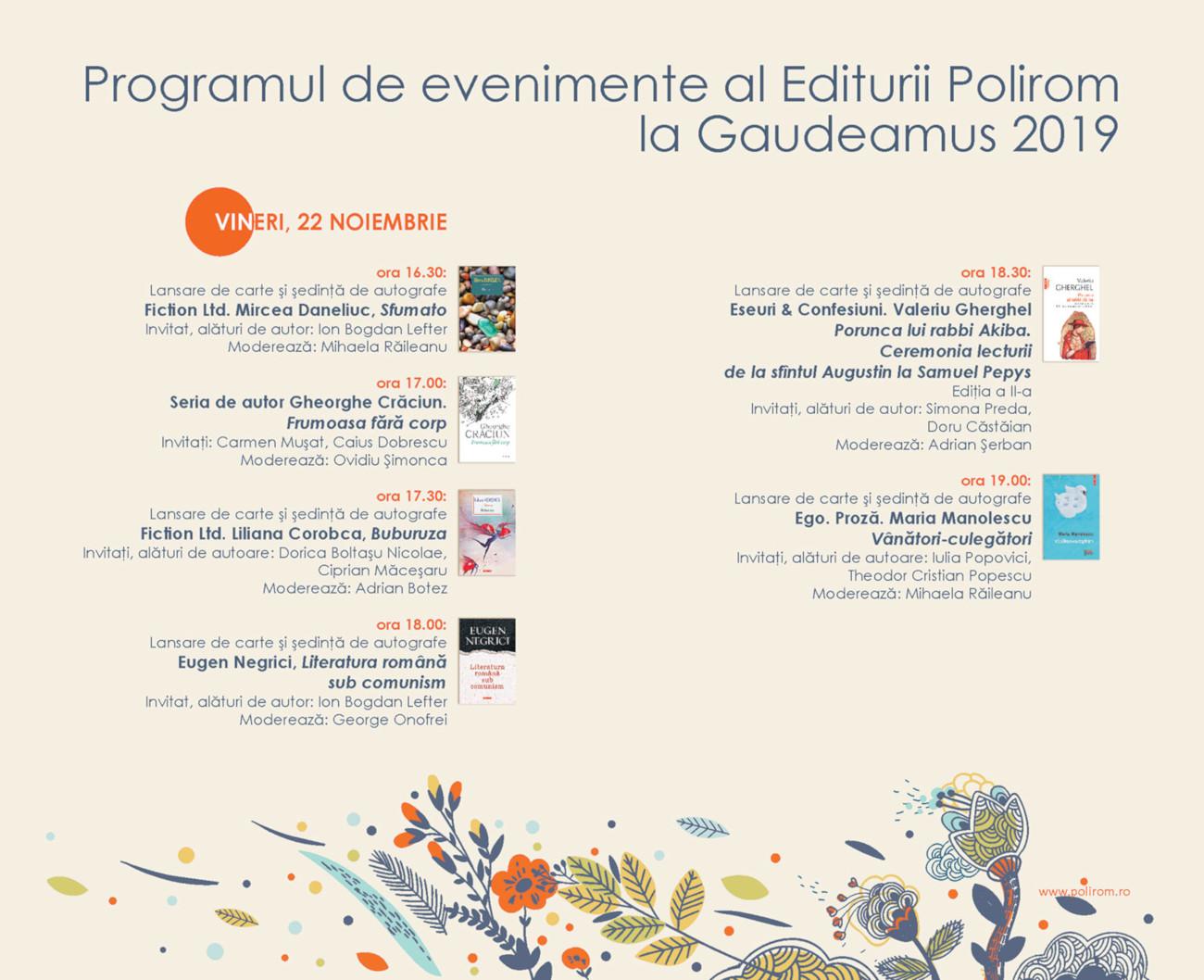 Program lansari Gaudeamus vineri